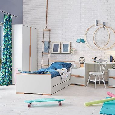 Einzelbett SCANDI Jugendbett weiß - Buche, 90x200cm, Wahlweise mit Bettschublade