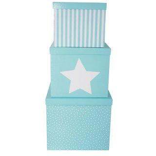 3er Set Aufbewahrungsboxen / Geschenkboxen türkis Stern weiß von JaBaDaBaDo