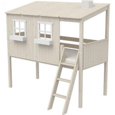 Flexa Classic  halbhohes Bett mit ganzem Baumhaus Aufsatz mattweiß/weiß