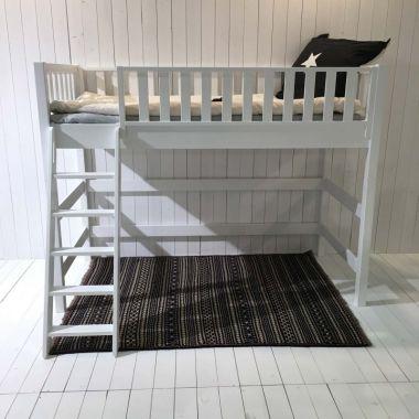 ROOMSTAR Multifunktions-Hochbett 160cm, weiss, skandinavisches Design, 90x200cm