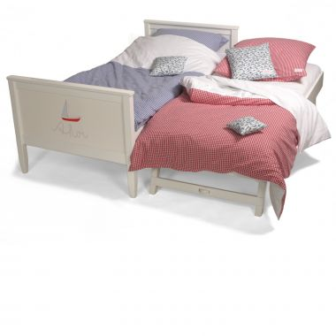 Gästebett / Jump-Up-Bett ISLE OF DOGS, Massivholz, weiß