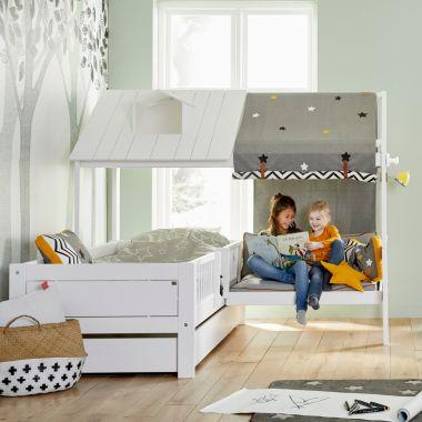Lifetime Kinderbett mit Sitzbank BEACH HOUSE & BENCH, Massivholz Kiefer weiß, 90x200cm