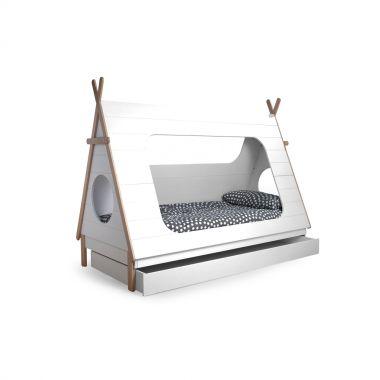 Abenteuerbett / Spielbett TIPI + Bettschublade, Kiefer, weiß lackiert, 90x200cm
