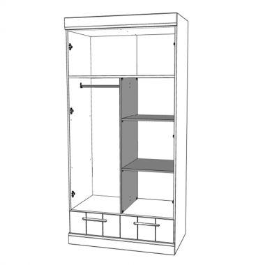 Schrank-Inneneinteilung für Kleiderschrank CONNECT, 2-türig, 2 Schubladen