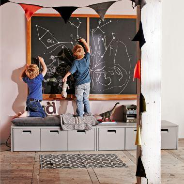 Sitzbank BUNKY mit 3 Schubladen, grau, Massivholz