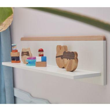 Wandregal SCANDI Kinderzimmer Hängeregal weiß - Buche, 91x18x23,5cm