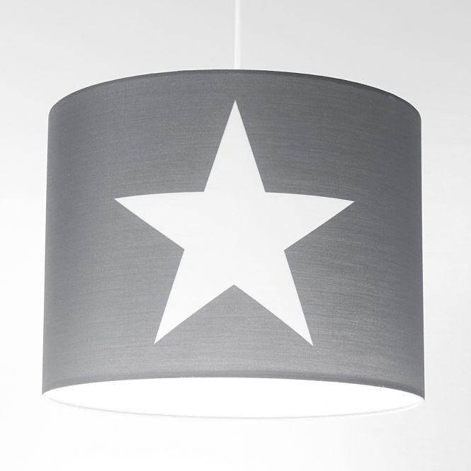 Jugendlampe, Kinder-Hängelampe ROOMSTAR, Stern, 35cm, grau