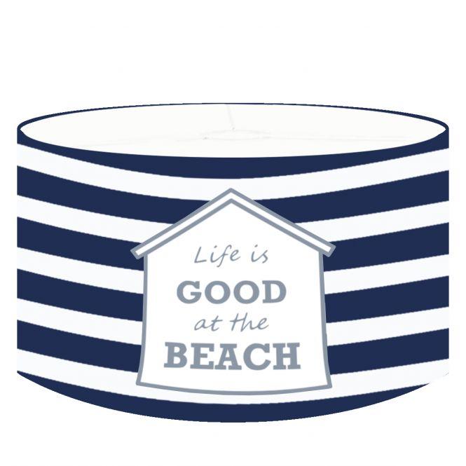 DANNENFELSER Pendellampe BEACH HOUSE maritimes Design, Lampenschirm marineblau - weiß gestreift Ø 35cm