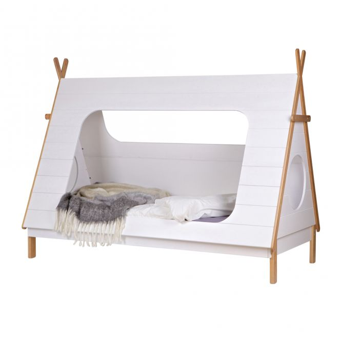 Abenteuerbett / Spielbett TIPI, Kiefer, weiß lackiert, 90x200cm