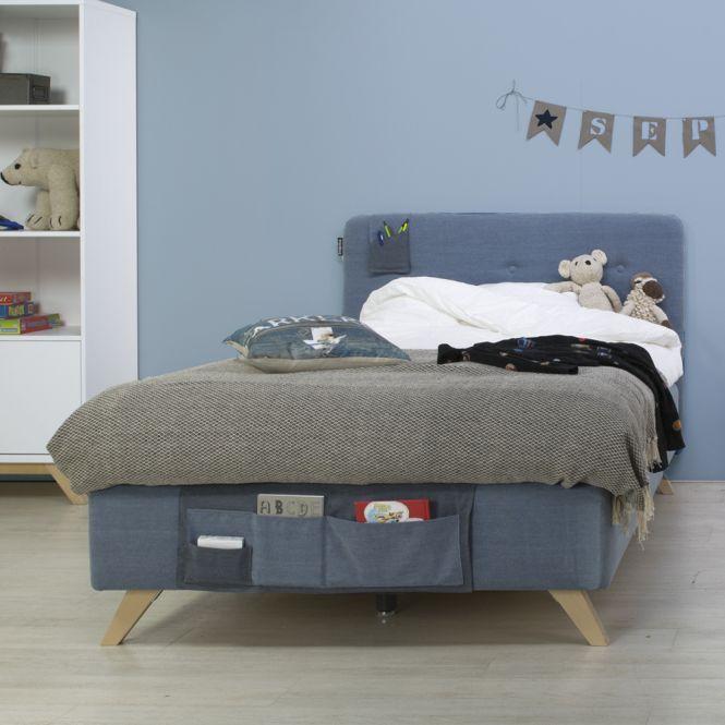 bopita boxspringbett lynn f r teens denim blau mit betttaschen und matratze 120x200cm. Black Bedroom Furniture Sets. Home Design Ideas
