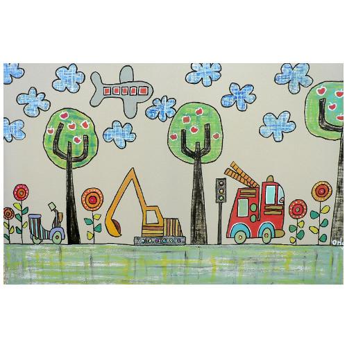 Handgemaltes Kinderbild FEUERWEHR, Leinwand, mit Glitzersteinchen, 40x60cm oder 60x90cm
