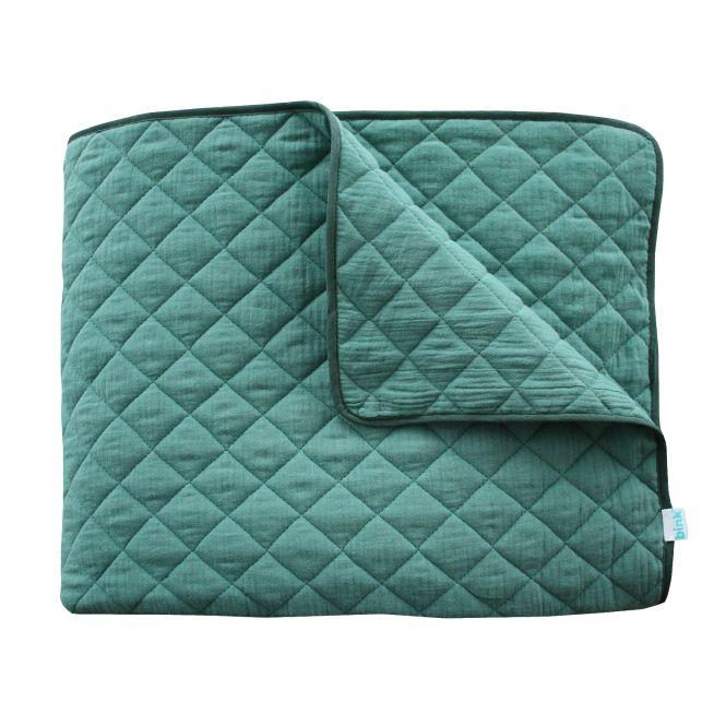 Grüne Zweiseitige Steppdecke, Sommerdecke,  Bettüberwurf, Tagesdecke  / Plaid Green/Grün  100% Baumwolle, 125x210cm