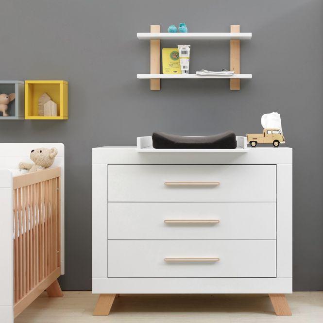 bopita kommode lisa mit 3 schubladen weiss buche dannenfelser kinderm bel. Black Bedroom Furniture Sets. Home Design Ideas