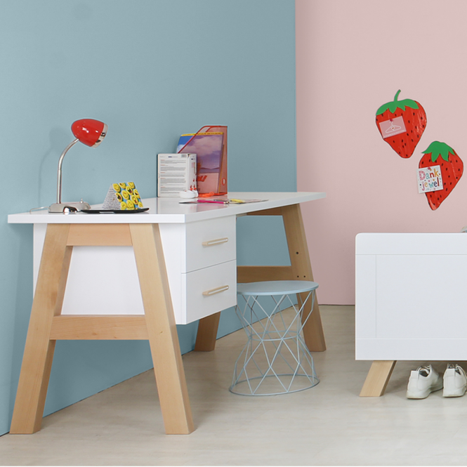 BOPITA Schreibtisch LISA mit 2 Schubladen, weiss/buche