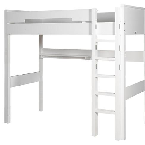 BOPITA Hochbett XL COMBIFLEX, 90x200cm, Höhe: 188cm, gerade Leiter, umbaubar, weiß