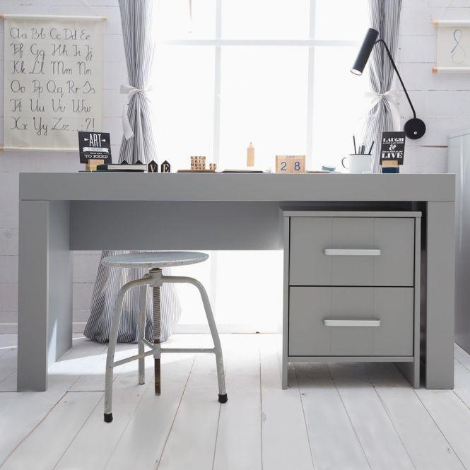 Jugend-Schreibtisch CARLA Laptop Tisch, MDF grau, 150x65x75cm