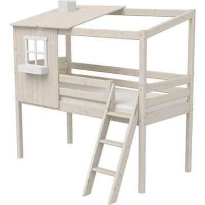 Flexa Classic  halbhohes Bett mit schräger Leiter und 1/1 Classic Haus