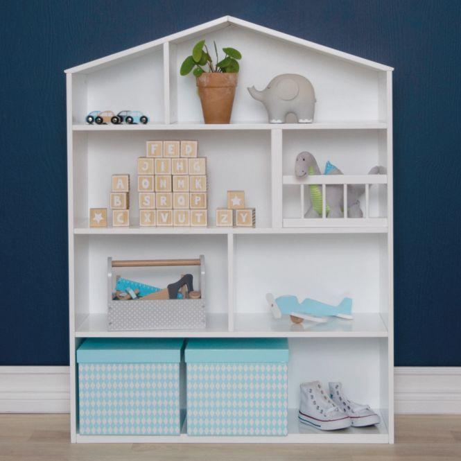 Kinderregal, Puppenhaus, Setkasten, Holz weiß, 75x24x99cm von JaBaDaBaDo