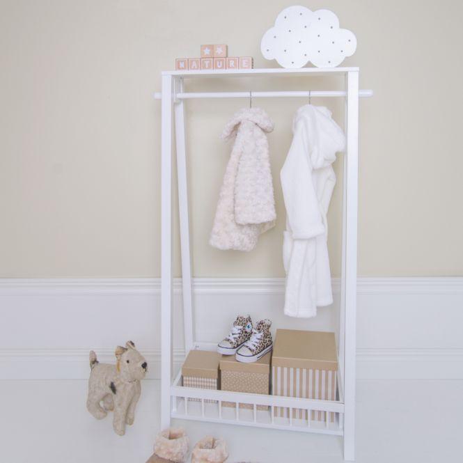 Kindergarderobe - Kleiderständer Holz weiß 65x35x116cm von JaBaDaBaDo