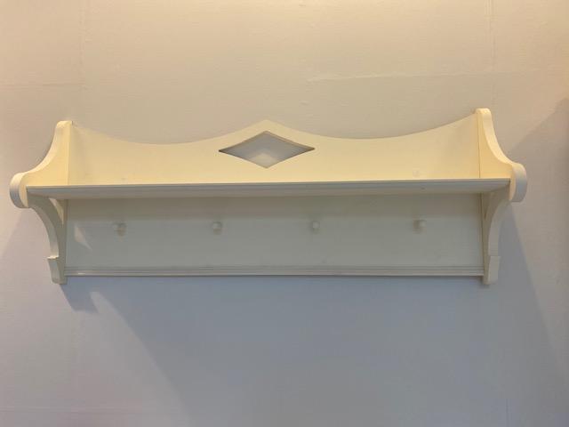 Wandgarderobe Vintage, weiß, Holz mit Ablage