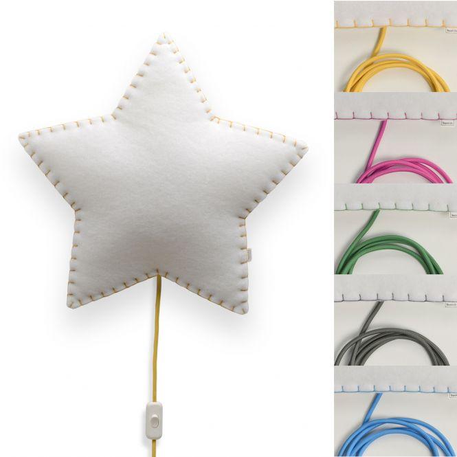 Wandlampe / Softlampe ESTRELLA, handgenäht, verschieden farbige Nähte/Kabel