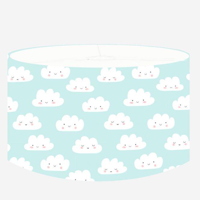 DANNENFELSER Kinderzimmerleuchte / Hängelampe HAPPY CLOUDS mit Wolken hellblau - weiß Ø 35cm