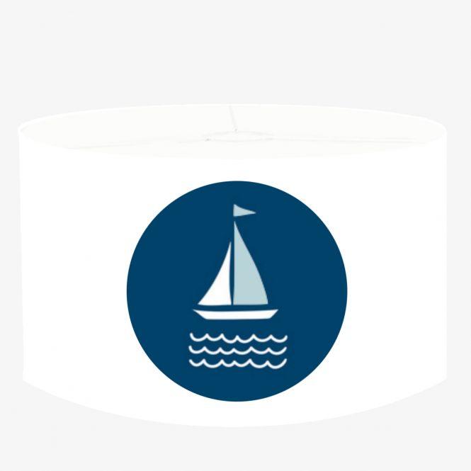 DANNENFELSER Hängeleuchte SEGEL Lampenschirm weiß - marineblau Ø 35cm mit Pendel