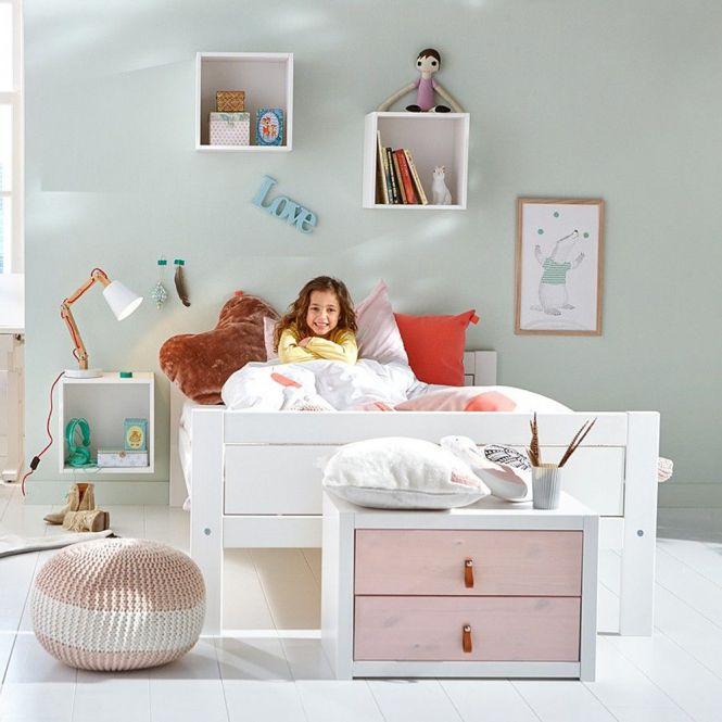 LIFETIME Jugendbett Doppelbett inkl. Lattenrost Holz Kiefer weiß astfrei 120 x 200 cm