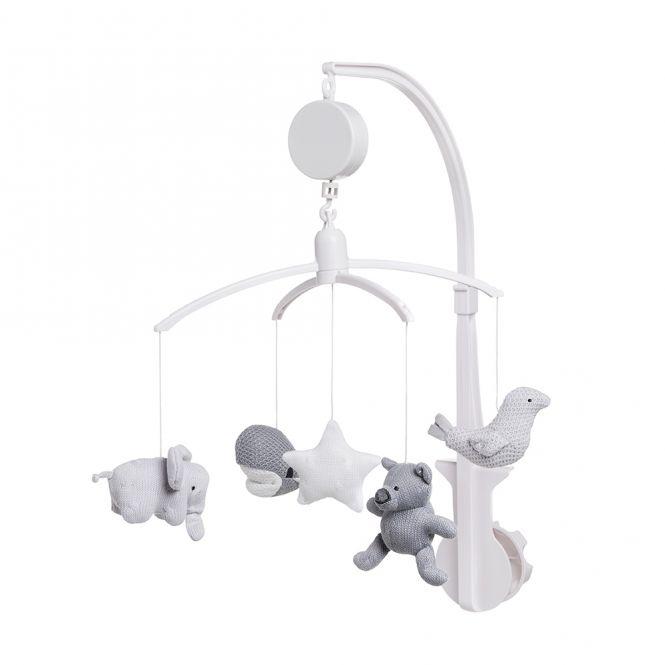 Babys Only Spieluhr Mobile ANIMALS grau