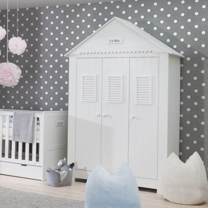 3-türiger Kinderzimmer Kleiderschrank LA MER Haus-Schrank mit Spitzdach, MDF weiß