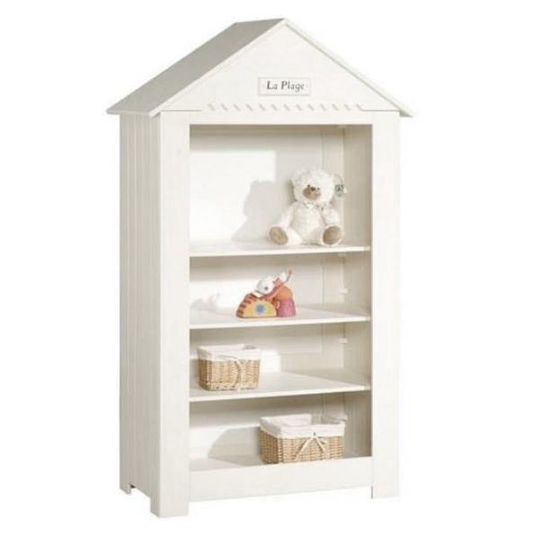 Bücherregal Massivholz Pinie LA MER Spitzdach skandinavisches Design weiß schneeweiß Breite: 107cm weiss