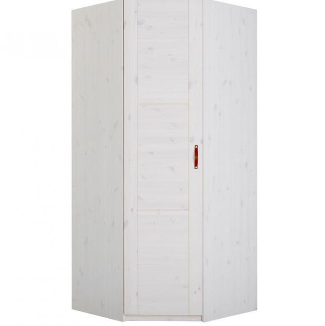 LIFETIME Eck-Kleiderschrank 2-türig, Holz, weiß lackiert