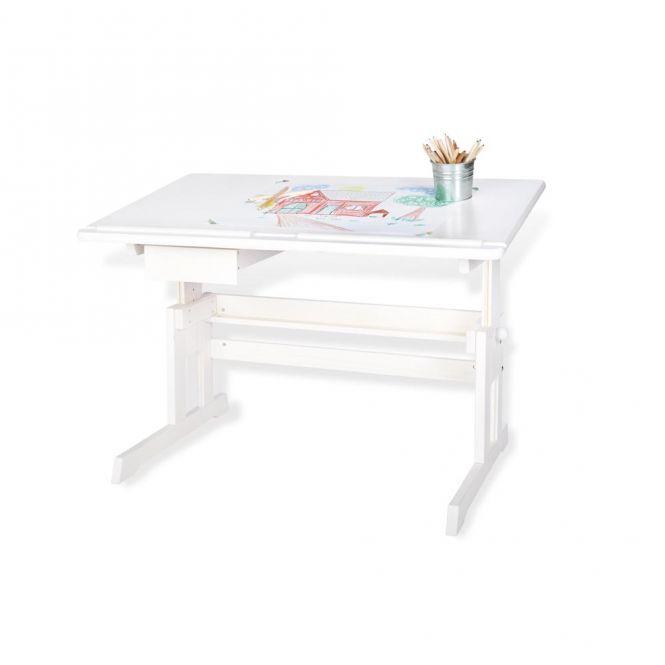 Kinderschreibtisch / Schreibtisch LENA, Holz, weiß, höhen- und neigungsverstellbar