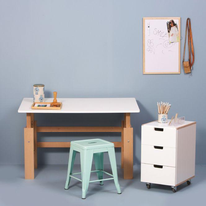 MANIS-H Schreibtisch / Holzschreibtisch, Weiß-Buche