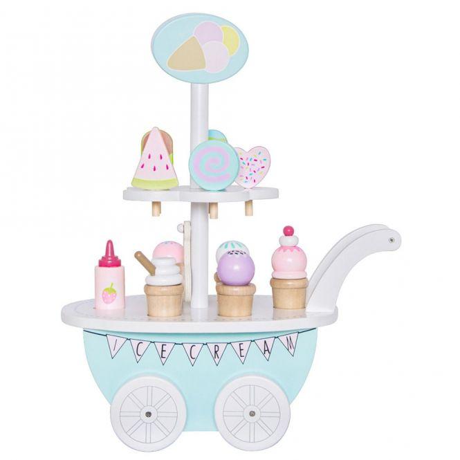 12tlg. Eiswagen mit 10 Eissorten und Saucenflasche - Holzspielzeug von JaBaDaBaDo