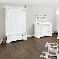 Komplettzimmer EMILIA weiss, 2-türiger Kleiderschrank, Wickelkommode und Babybett