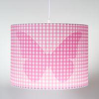 Kinderlampe, Hängelampe Silhouette METTERLING, Schmetterling, rosa kariert, 35cm