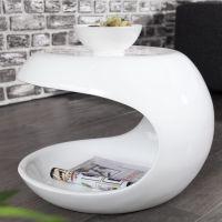 Design Beistelltisch / Nachttisch SP-5 rund, Hochglanz weiß, 45x40x45cm