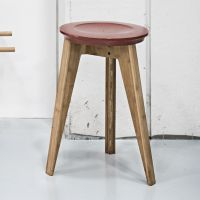 WE DO WOOD Hocker Stuhl BUTTON STOOL Moso Bambus Buche Holz rot