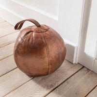 Türstopper Türpuffer MEDIZINBALL Vintage Leder braun 20x20x20cm