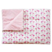 Kindertagesdecke / Plaid FLAMINGO, 100% Baumwolle, 125x210cm