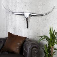 XL Deko Geweih OKLAHOMA Metall Wandskulptur, silber Hochglanz, Breite 100cm