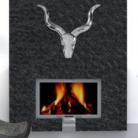 Deko Geweih NAMIBIA Metall Wandskulptur, Antilope Silber, Breite 55cm