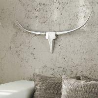 Deko Geweih OKLAHOMA Metall Wandskulptur, silber Hochglanz, Breite 75cm