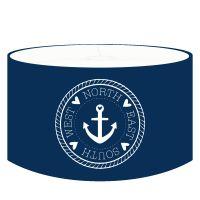 DANNENFELSER Kinder Hängelampe ANKERPLATZ Lampenschirm marineblau, Kompass mit Anker weiß Ø 35cm