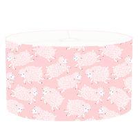 DANNENFELSER Kinderlampe HAPPY SHEEPS Kinderzimmer Leuchte rosa, Motiv: Schafe weiß, Ø 35cm