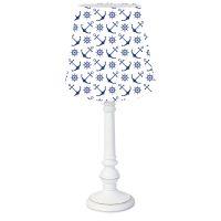 DANNENFELSER Tischleuchte AHOI weiß - Anker und Steuer in dunkelblau, Holzfuß weiß, Höhe 44,5cm