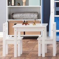 Set: Kindertisch + 2 Stühle, Kindersitzgruppe MADS, Holz, weiß