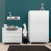 BOPITA 2-türiger Kleiderschrank ANNE weiss, Schrank Maße: 106x55x185cm