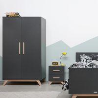 BOPITA 2-türiger Kleiderschrank KYAN XL Schrank dunkelgrau - Buchenholz, Soft Close, 106x60x200cm